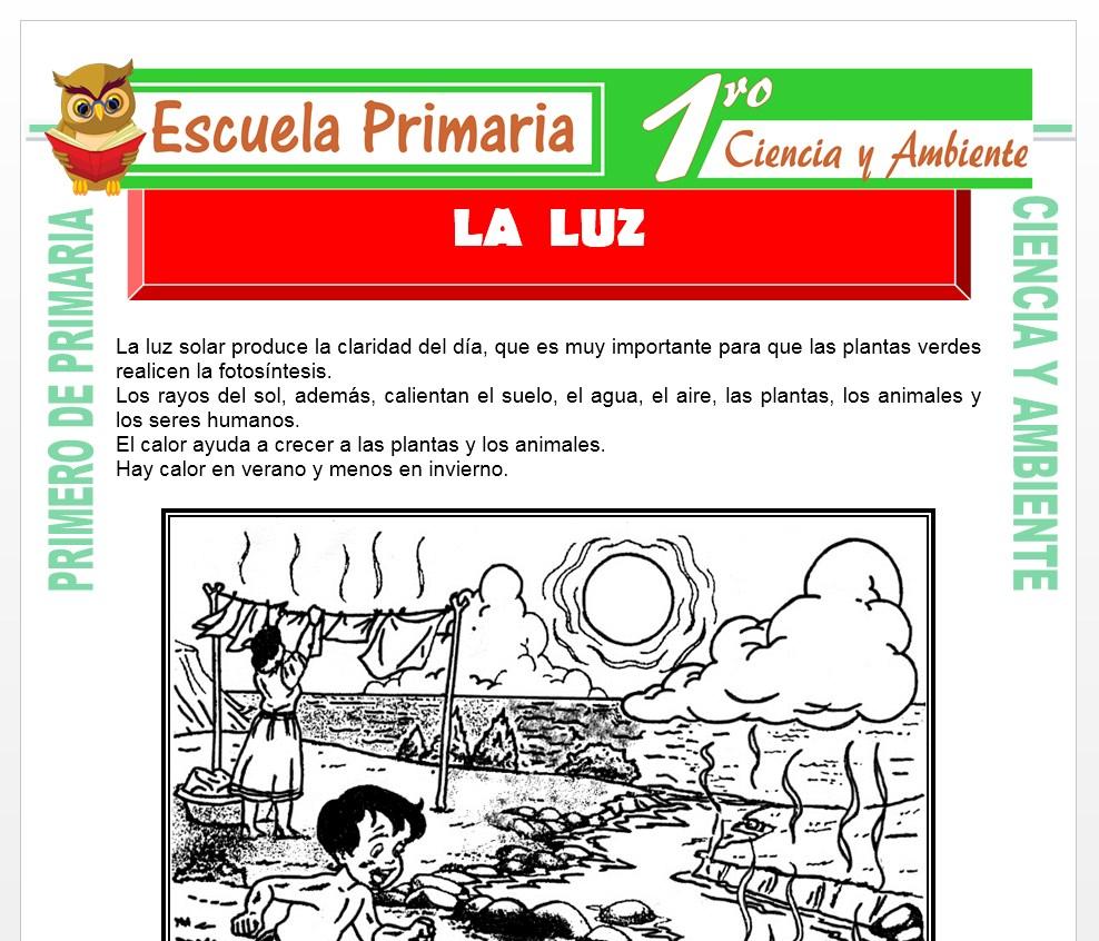 Ficha de La Luz para Primero de Primaria