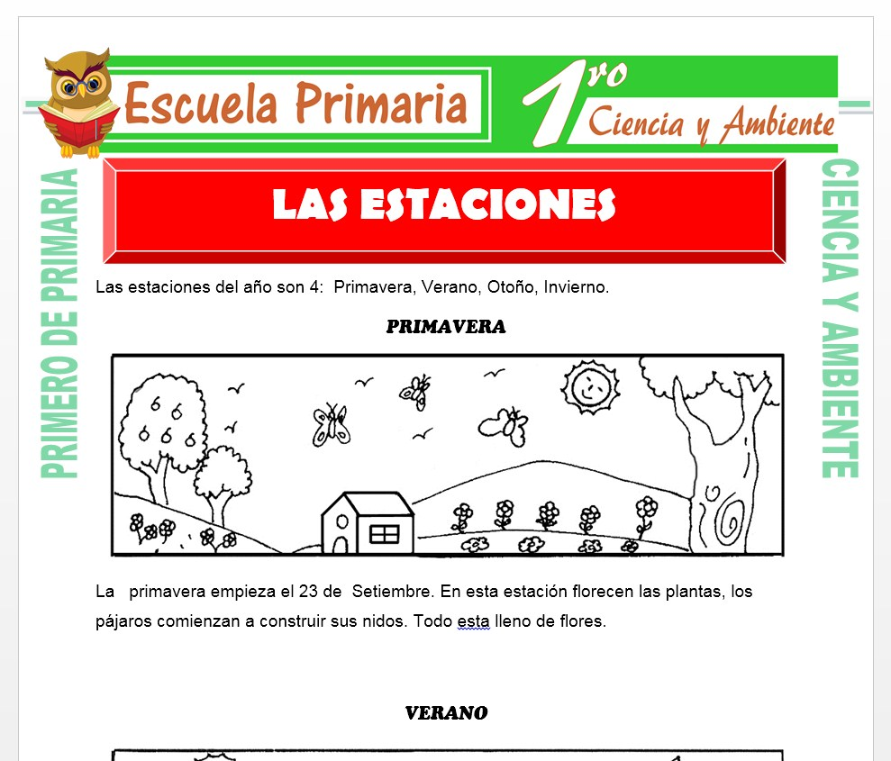 Ficha de Las Estaciones para Primero de Primaria