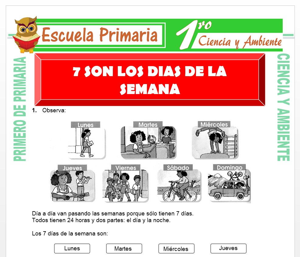 Ficha de Los Siete Dias de la Semana para Primero de Primaria