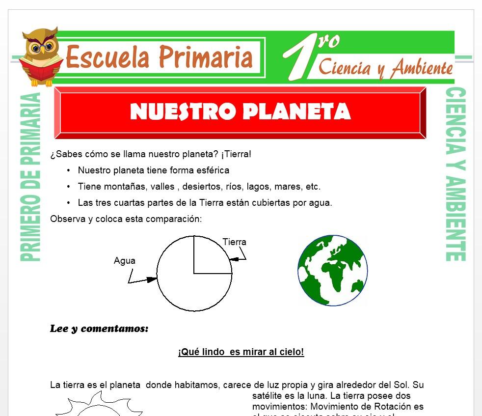 Ficha de Nuestro Planeta para Primero de Primaria