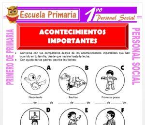 Ficha de Acontecimientos Importantes para Primero de Primaria