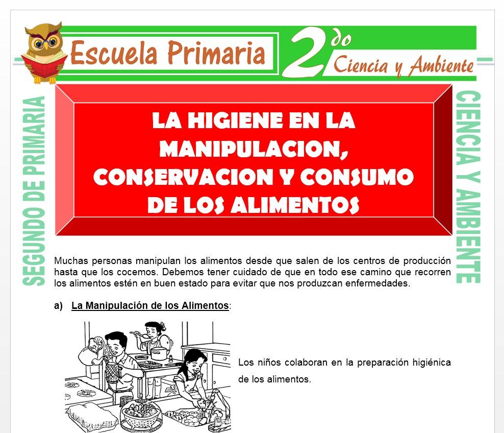 Ficha de Actividades de La Higiene de los Alimentos para Segundo de Primaria