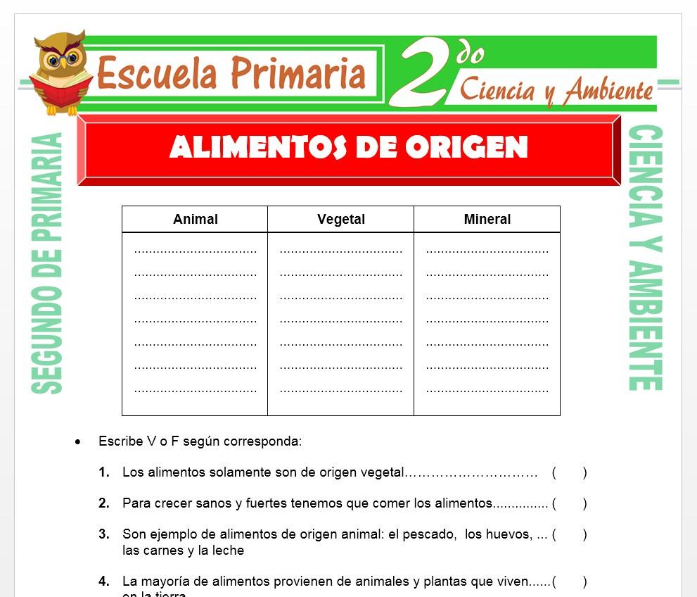Ficha de Alimentos de Origen para Segundo de Primaria
