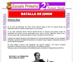 Ficha de Batalla de Junín para Segundo de Primaria