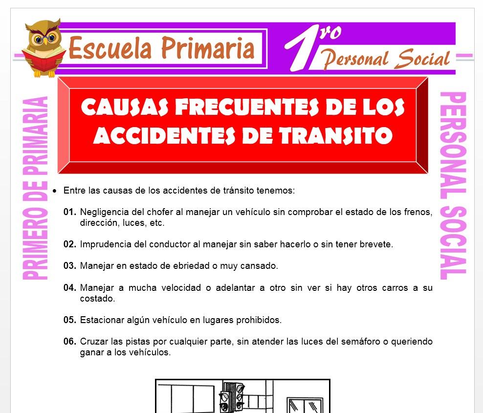 icha de Causas Frecuentes de Accidentes de Transíto para Primero de Primaria