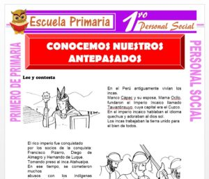 Ficha de Conocemos Nuestros Antepasados para Primero de Primaria