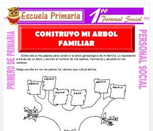 Ficha de Construyo mi Árbol Familiar para Primero de Primaria