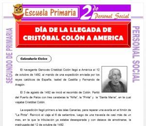 Ficha de Cristóbal Colon Llega a América para Segundo de Primaria
