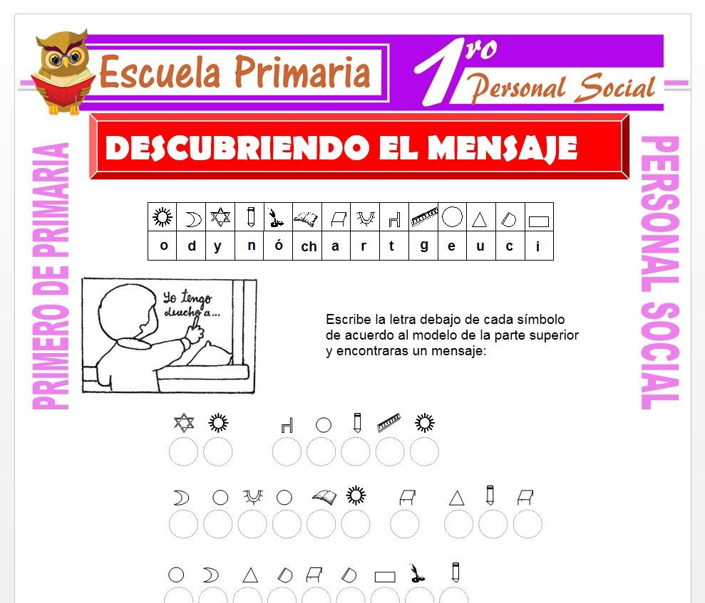 Ficha de Descubriendo Mensajes para Primero de Primaria