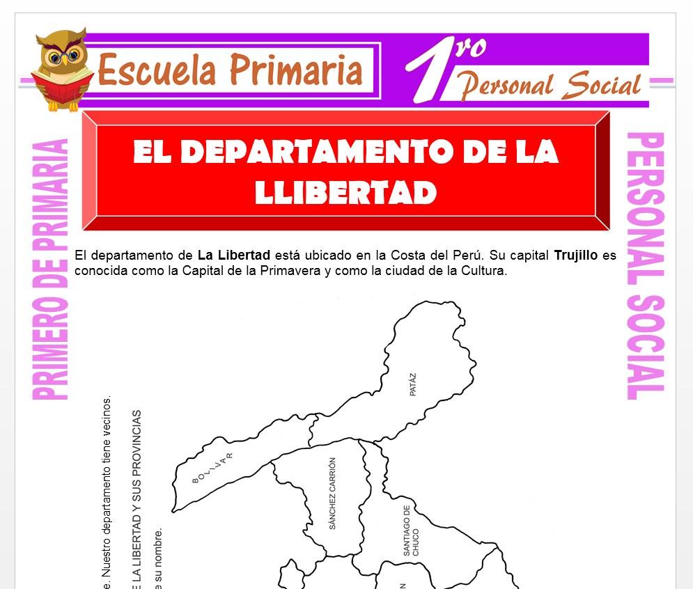 Ficha de El Departamento de La Libertad para Primero de Primaria