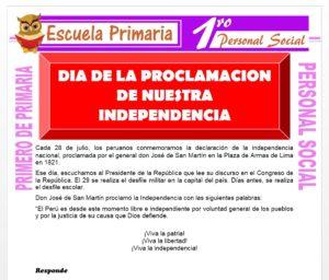 Ficha de El Día de la Proclamación de Nuestra Independenciapara Primero de Primaria