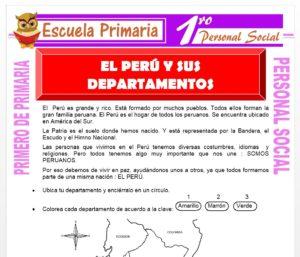 Ficha de El Perú y Sus Departamentos para Primero de Primaria
