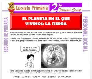 Ficha de El Planeta en el que Vivimos para Segundo de Primaria