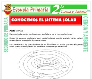 Ficha de El Sistema Solar para Segundo de Primaria