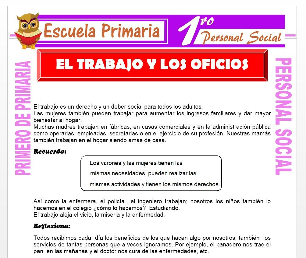 Ficha de El Trabajo y Los Oficios para Primero de Primaria