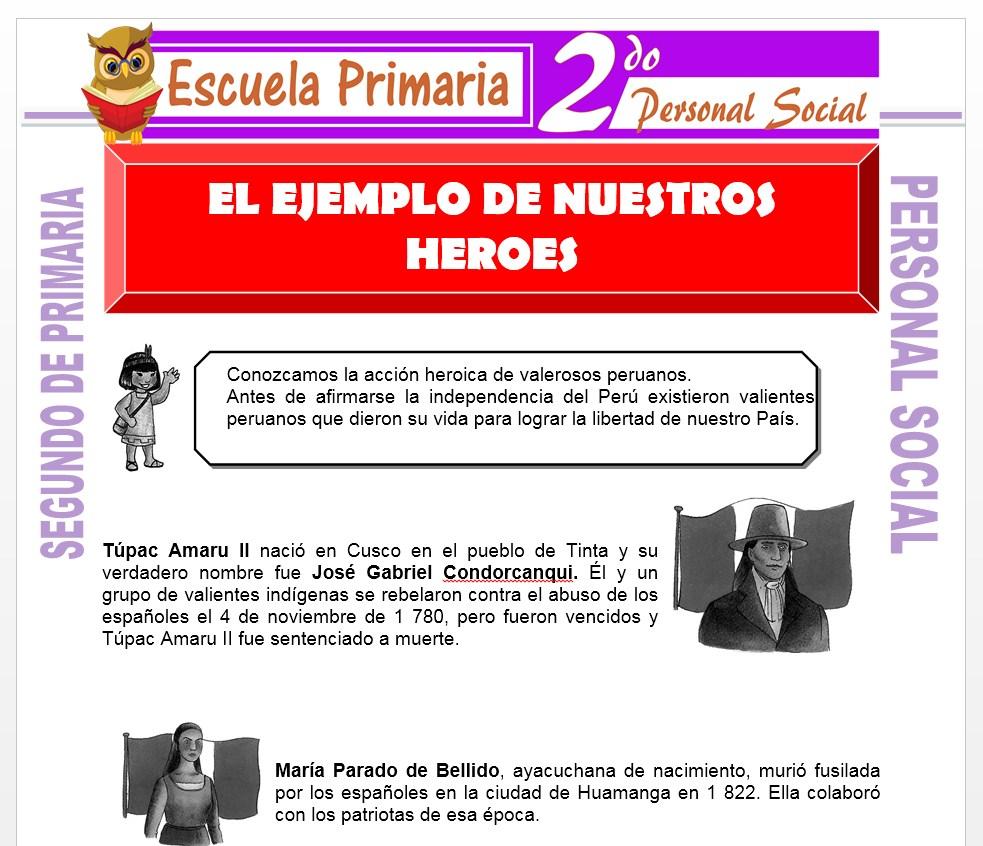 Ficha de El Ejemplo de Nuestros Héroes para Segundo de Primaria