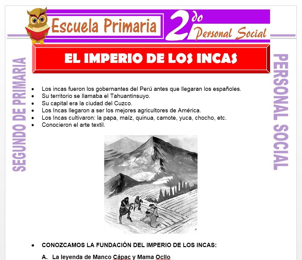 Ficha de El Imperio de los incas para Segundo de Primaria