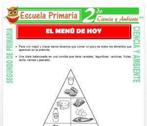 Ficha de El Menú Familiar para Segundo de Primaria