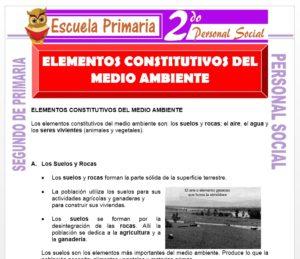Ficha de Elementos Constitutivos del Medio Ambiente para Segundo de Primaria