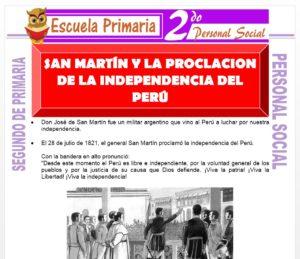 Ficha de La Proclamacion de la Independencía del Perú para Segundo de Primaria
