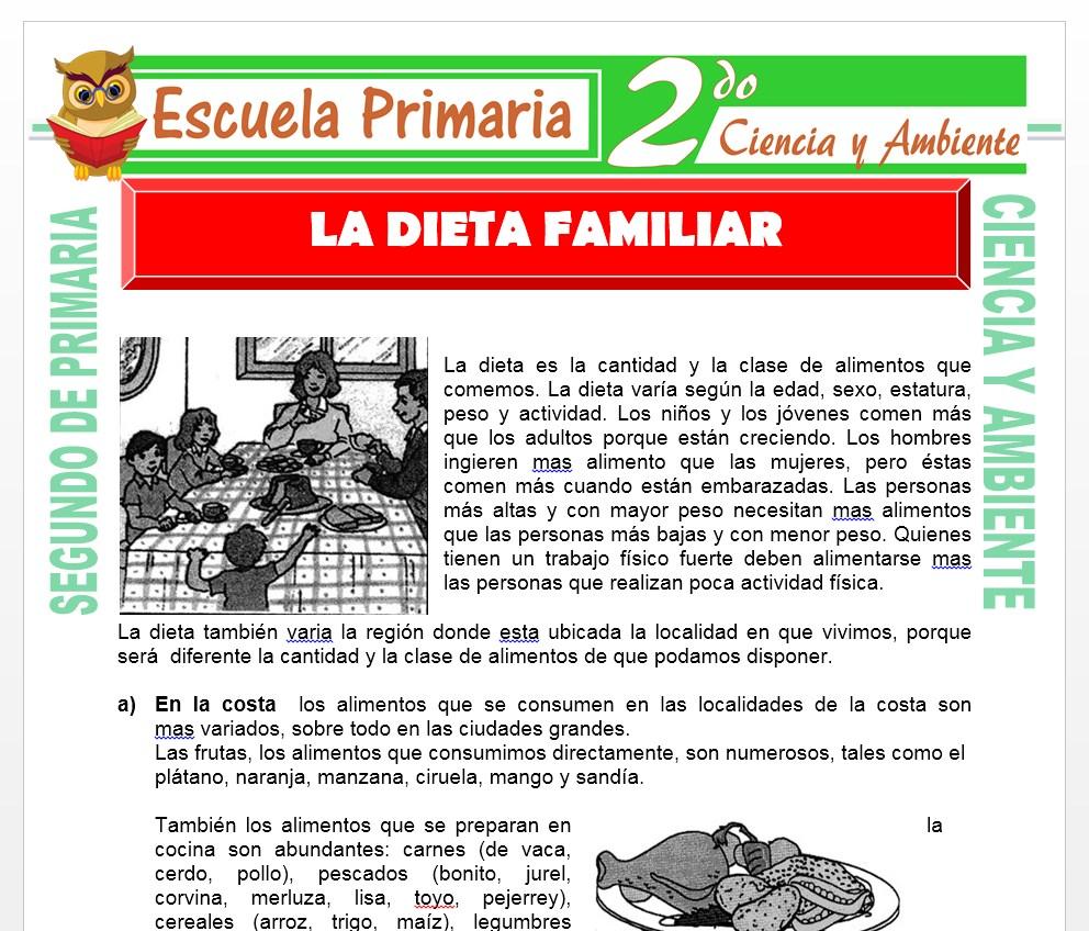 Ficha de La Dieta Familiar para Segundo de Primaria
