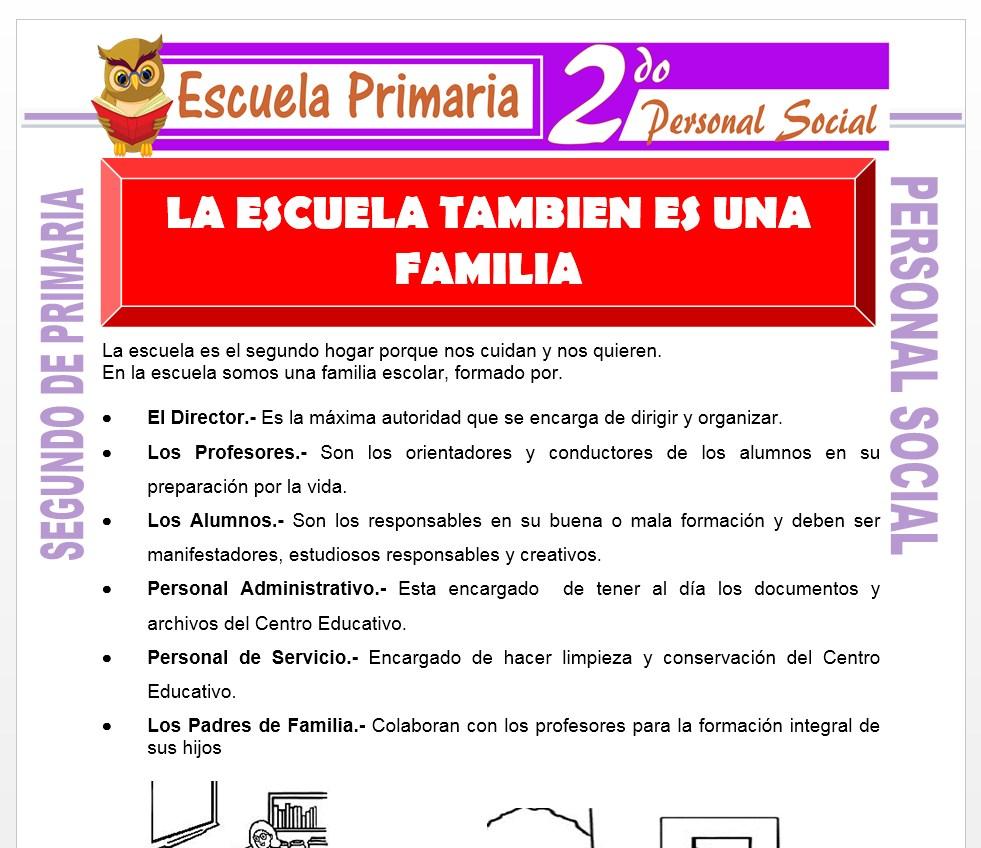 Ficha de La escuela también es una familia para Segundo de Primaria