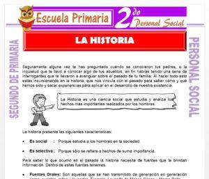 Ficha de La Historia para Segundo de Primaria