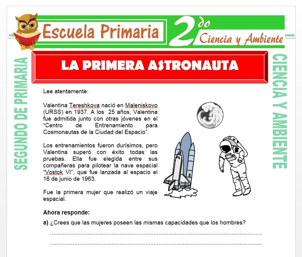 Ficha de La Primera Astronauta para Segundo de Primaria