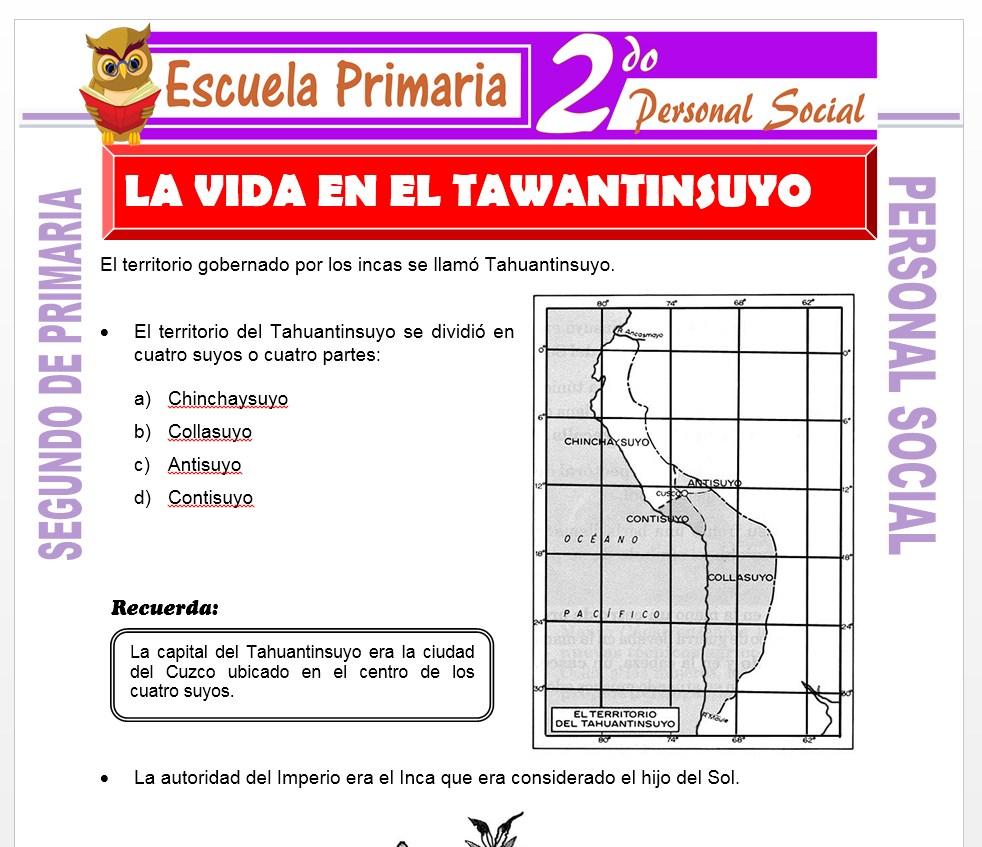 Ficha de La Vida en el Tawantinsuyo para Segundo de Primaria