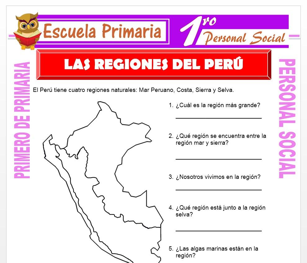 Ficha de Las Regiones del Perú para Primero de Primaria