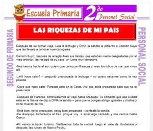 Ficha de Las Riquezas de mi País para Segundo de Primaria