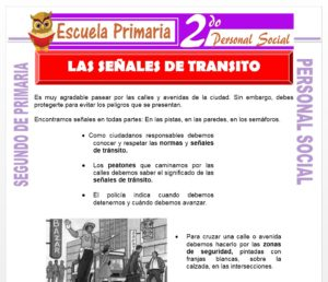 Ficha de Las Señales de Transito para Segundo de Primaria