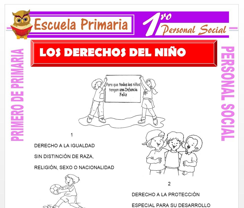 Ficha de Los Derechos del Niño para Primero de Primaria