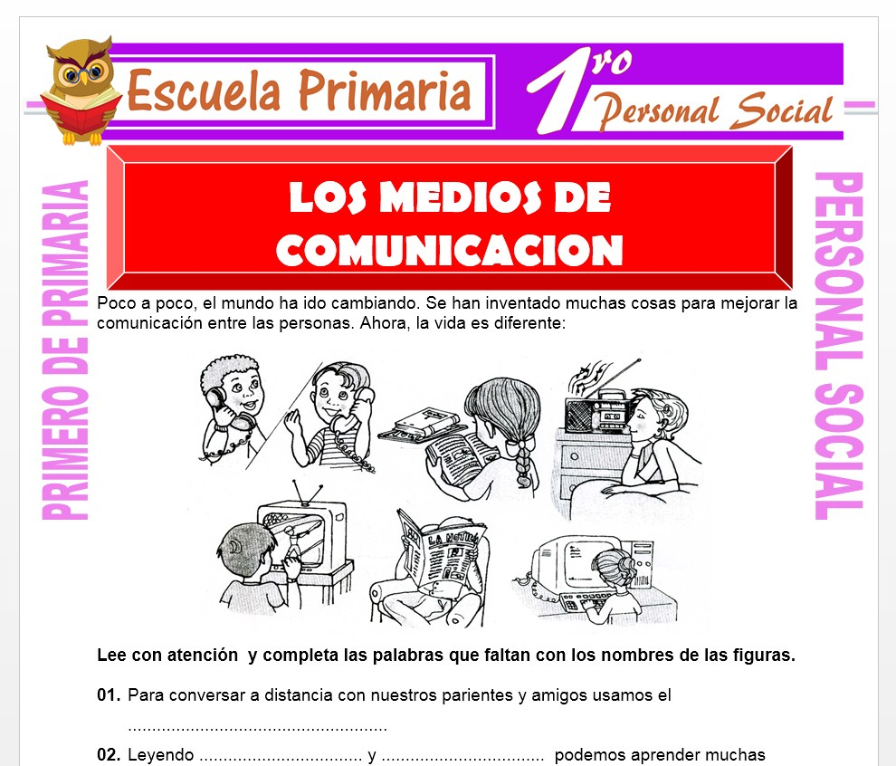 Ficha de Los Medios de Comunicación para Primero de Primaria