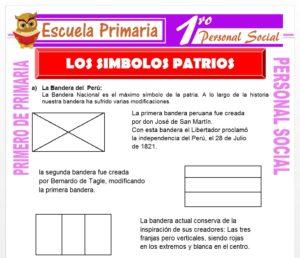 Ficha de Los Símbolos Patrios para Primero de Primaria