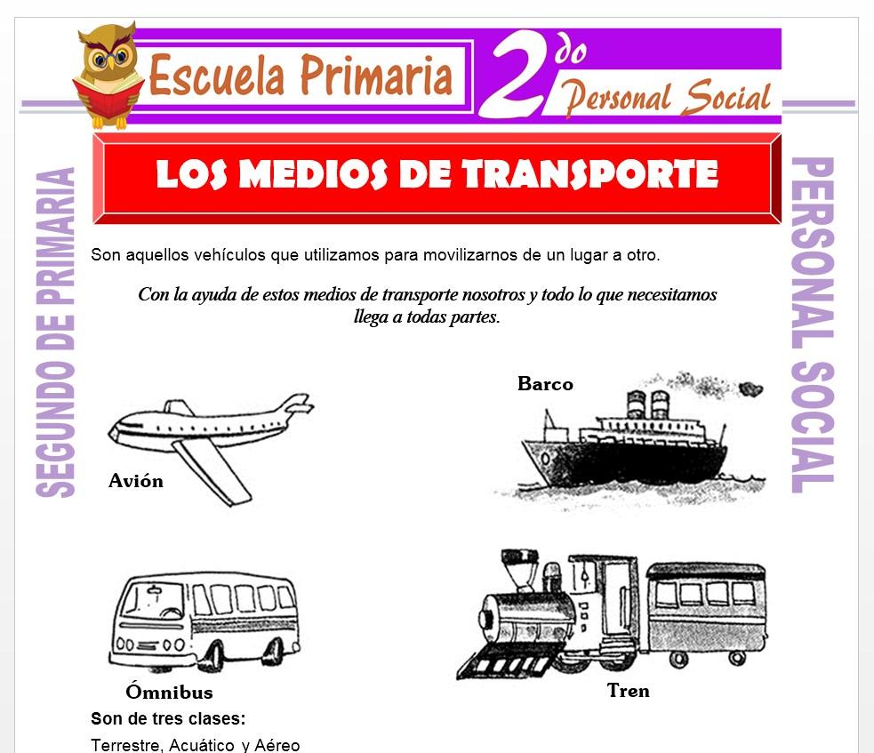 Ficha de Los Medios de Transporte para Segundo de Primaria