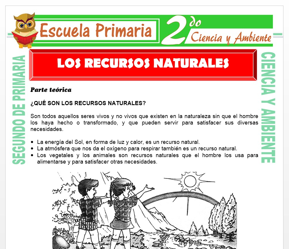 Ficha de Los Recursos Naturales para Segundo de Primaria