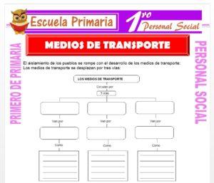 Ficha de Medios de Transporte para Primero de Primaria