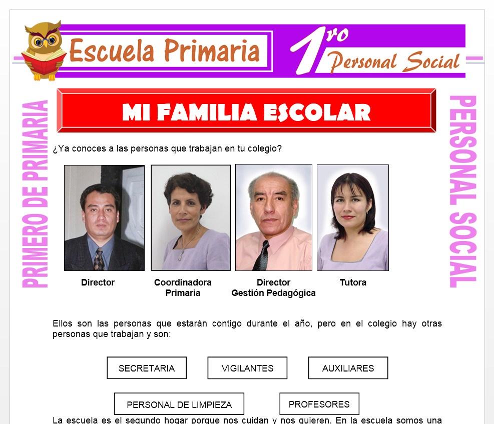 Ficha de Mi Familia Escolar para Primero de Primaria