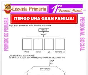 Ficha de Mi Familia para Primero de Primaria