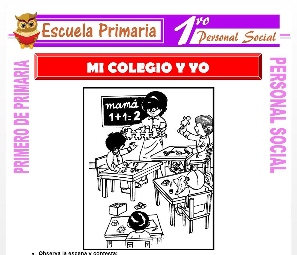 Ficha de Mi Colegio y Yo para Primero de Primaria
