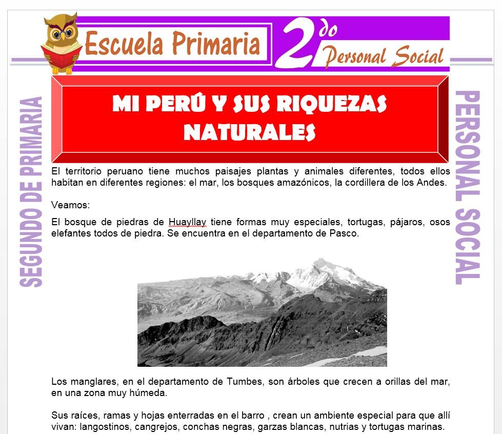 Ficha de Mi Perú y sus Riquezas Naturales para Segundo de Primaria