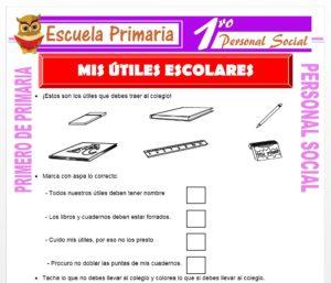 Ficha de Mis Útiles Escolares para Primero de Primaria