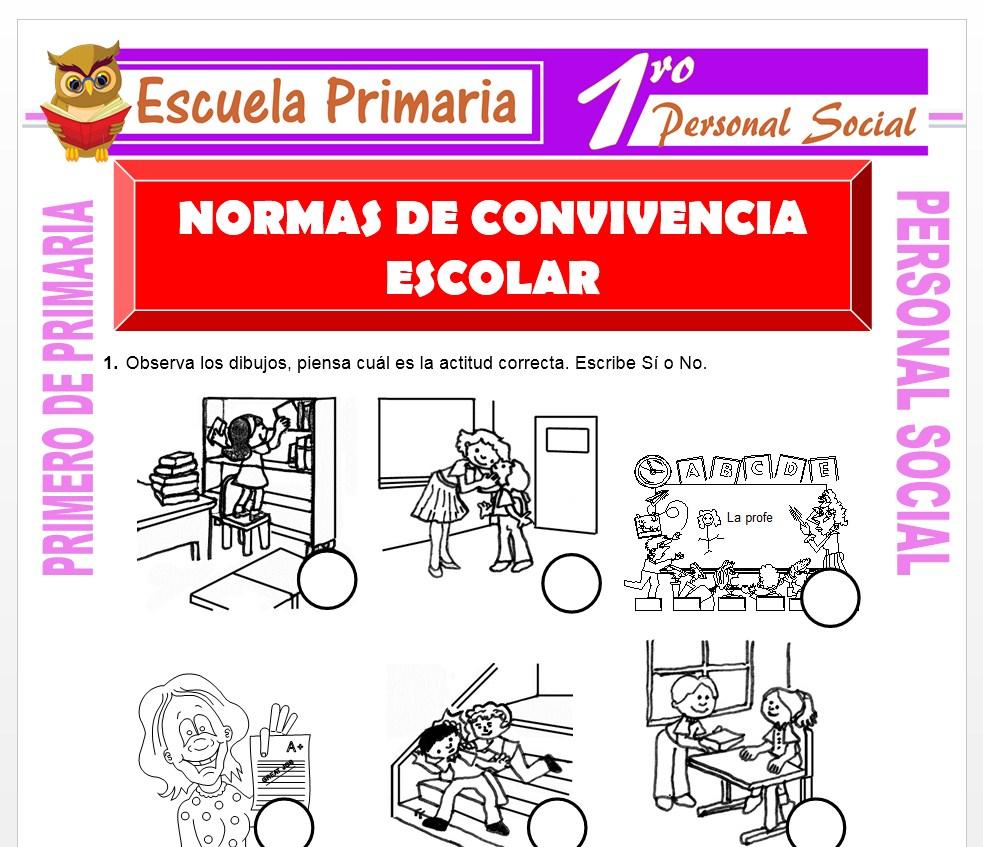 Ficha de Normas de Convivencia para Primero de Primaria