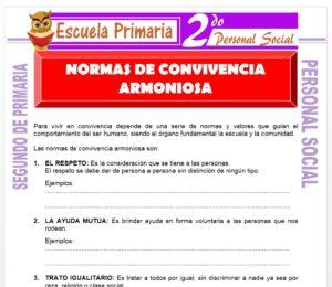 Ficha de Normas de convivencia armoniosa para Segundo de Primaria