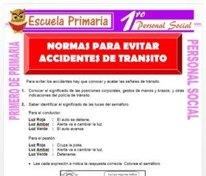 Ficha de Causas Frecuentes de Accidentes de Transíto para Primero de Primaria