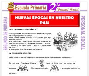 Ficha de Nuevas Épocas en Nuestro País para Segundo de Primaria