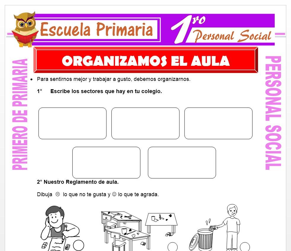 Ficha de Organizamos el Aula para Primero de Primaria
