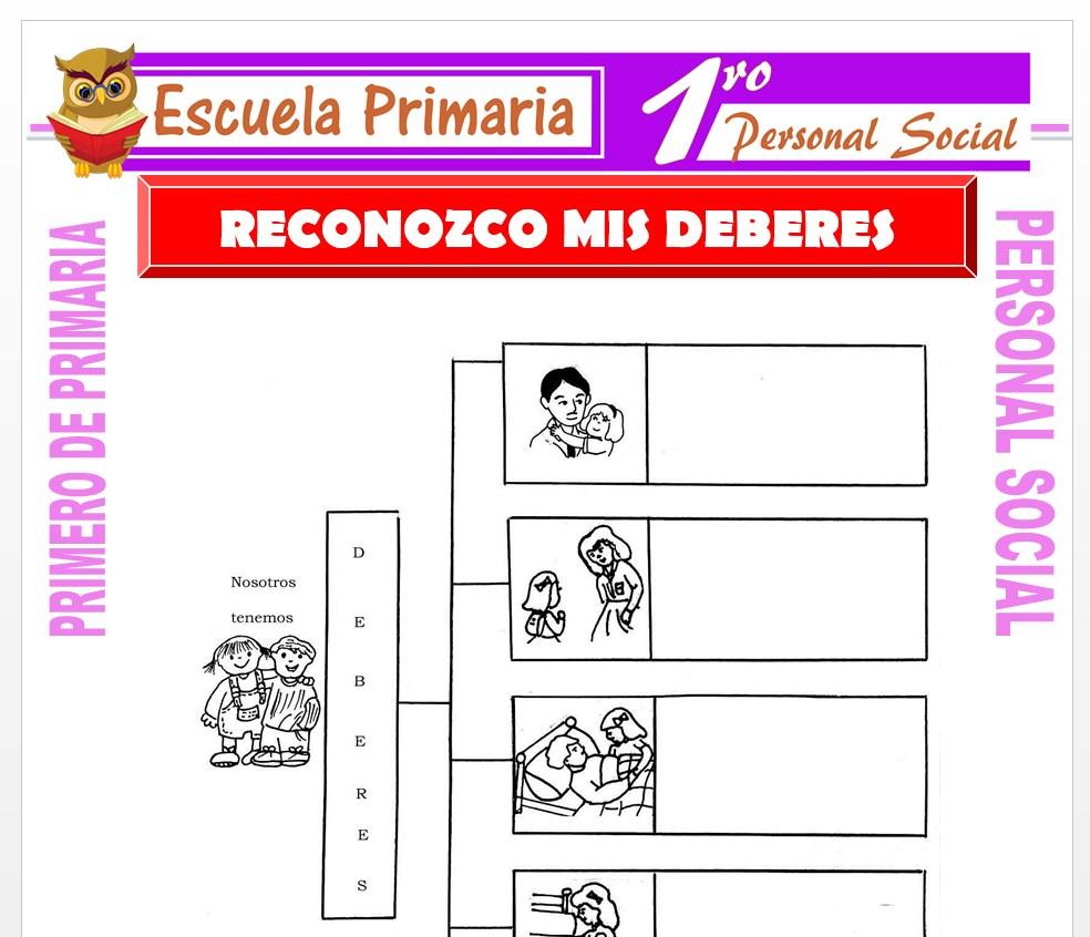 Ficha de Reconozco Mis Deberes para Primero de Primaria
