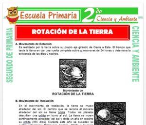 Ficha de Rotación de la Tierra para Segundo de Primaria